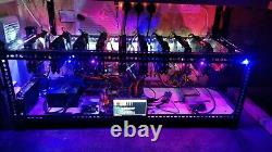 11 Card Ethereum / BTC / Altcoin cryptocurrency mining rig running at 318Mh/s