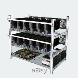 12 GPU Aluminum Open Air Mining Rig Frame Case With Fans For ETH BTC LTC