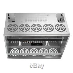 12 GPU Mining Miner Frame Rig Case Computer with 10 Fans ETH BTC Ethereum Bitcoin