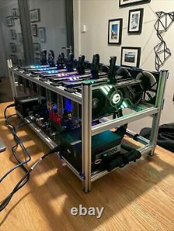 12 GPU Mining Rig Open Frame Aluminium Stackable Case ETH BTC with 9 Fans RTX