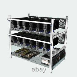 12 GPU With 10 LED Fans Mining Miner Stackable Frame Rig Case For ETH Bit Coin