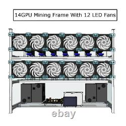 14 GPU Air Mining Frame Rig Case With 12 LED Fans For ETH Ethereum ZCash