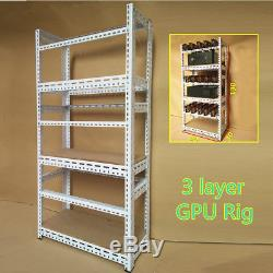 18 GPU Crypto Coin Steel Open Air Frame Miner Mining Rig Case ETH BTC Ethereum