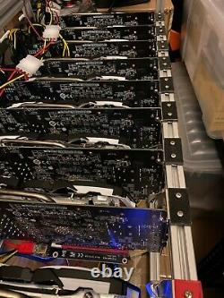 18 GPU Mining Rig Open Frame Aluminium Stackable Air Case ETH BTC with 12 Fans