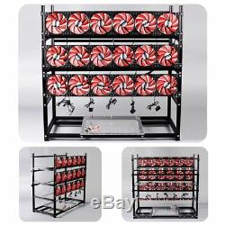 19 GPU Mining Rig Aluminum Stackable Case Open Air Miner Frame 4 PSU 18 Fans