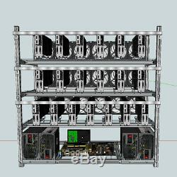 19 GPU Open Air Stackable Mining Rig Frame Miner Case For ETC BTH With 18