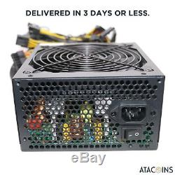 6 GPU 1600W Power Supply For ETH ETC Rig Ethereum Coin Miner Mining 90 Gold USA