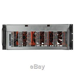 6 GPU 4U Crypto Coin Open Air Mining Frame Rig Graphics Case Miner 1250W