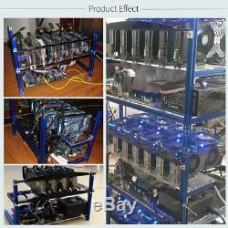 6 GPU Open Air Mining Miner Rig Frame Holder Support 4 Fans For ETH BTC Bitcoin
