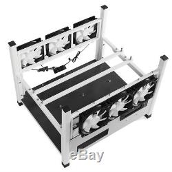 6GPU Open Mining Case Computer ETH Miner Frame Rig 6Fans Coins&Temp Monitor BX36