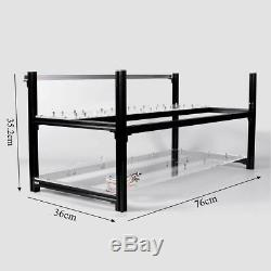 8 GPU Aluminum Crypto Coin Stackable Open Air Frame Mining Miner Rig Case