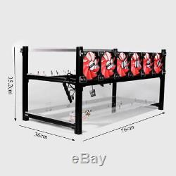 8 GPU Aluminum Open Air Miner Frame Mining Rig Case Ethereum ZCash With 6 Fans