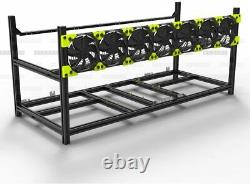 8 GPU Aluminum Stackable Open Air Mining Case Computer Frame Rig Ethereum Veddha