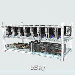 8-GPU Aluminum Stackable Open Air Mining Rig Frame Case For BTC ETH Ethereum