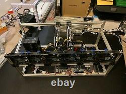 9 GPU Mining Rig Open Frame Aluminium Stackable Air Case ETH BTC with 6 Fans