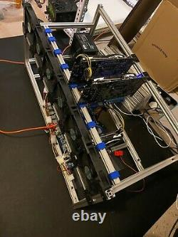 9 GPU Mining Rig Open Frame Aluminium Stackable Air Case ETH BTC with 6 Fans RTX