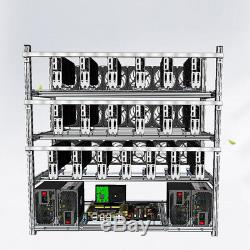Air Mining Frame Rig Case Up To 19 GPU With 18 LED Fans For ETH Ethereum ZCash