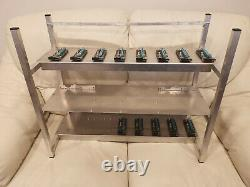 Aluminium 16 Gpu Cards Mining Rig Frame Open Air Chassis Miner Case + 13 Risers