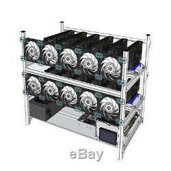 Aluminum Open Air Mining Rig Stackable Frame Case With 10 LED Fans For 12 GPU