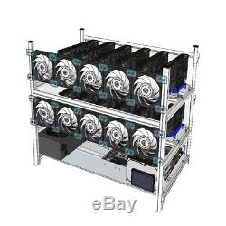 Aluminum Open Air Mining Rig Stackable Frame Case With 10 Led Fans For 12 Gpu Et