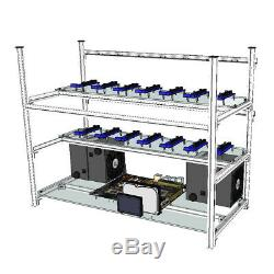 Aluminum Open Air Mining Stackable Frame Rig Case 14 GPU For ETH Ethereum ZCash