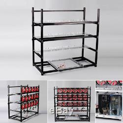 Black 19 GPU Stackable Open Air Fan Mining Rig Frame Case For ETH BTC