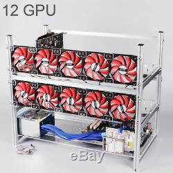 Excellway Aluminum Open Air Mining Rig Stackable Frame Case For 12 GPU ETH