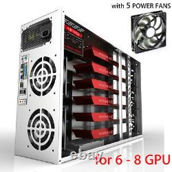 For 6-8 GPU ETH BTC Open Air Mining Miner Frame Rig Coin Graphics Case with 5