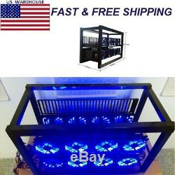 For Ethereum Mining Aluminum Crypto Open Air Miner Frame Rig Case 8 GPU 12 Fan