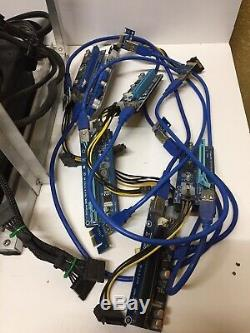 GPU Mining Rig Complete without GPUs 1000w PSU Up To 7 GPUs