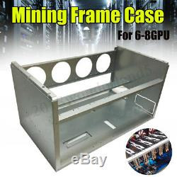 Galvanized Open Air Mining Frame Rig Case For 6-8 GPU Crypto Currency ETH