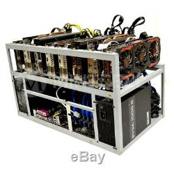 MintCell SPARTAN V2 Open Air GPU Mining Rig Frame Case Chassis & 8 USB Risers