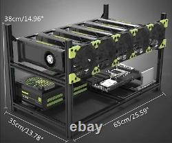 Veddha 6 GPU Miner Case Aluminum Stackable Mining Case Rig Open Air Frame USA