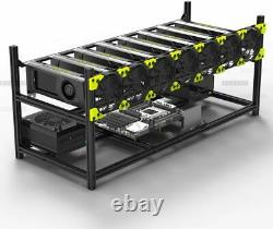 Veddha 6 GPU Miner Case Aluminum Stackable Mining Case Rig Open Air Frame V3C
