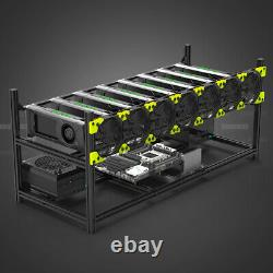 Veddha 8 GPU Miner Case Aluminum Stackable Mining Rig Frame Open Air USA STOCK
