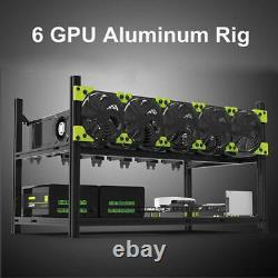 Veddha Aluminum Open Air Frame Mining Rig Case Rack For 6 GPU Stackable ETH MWT